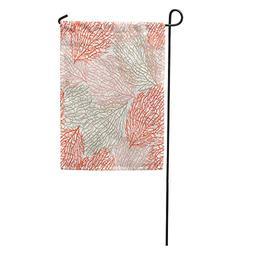 Semtomn Garden Flag Coastal Coral Pattern Bright Cheerful Su