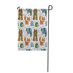 garden flag colorful owl woodland