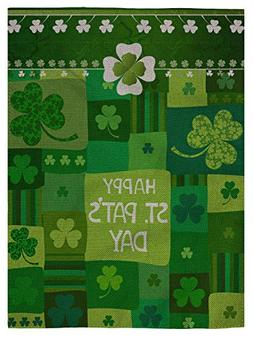 pingpi Garden Flag St Patricks,Green Color with Nature Clove