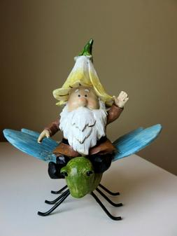 Garden Gnome Riding on Dragonfly Figurine Statue Resin New 7