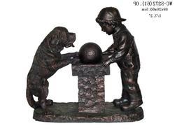 Garden Outdoor Indoor Boy and Dog Sculpture Statue Water Fou