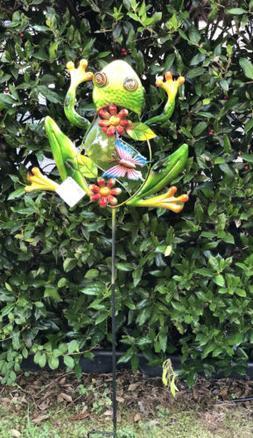 Garden Lawn Yard Decoration animal Frog glass & metal pick s