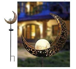 Garden Solar Path LED Lights Moon Crackle Outdoor Walkway Li