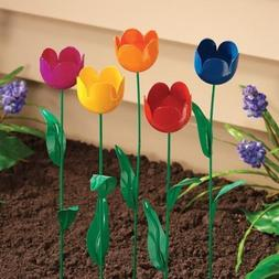 Tulip Garden Stake Set of 5 Metal Flower Yard Art Outdoor Pl