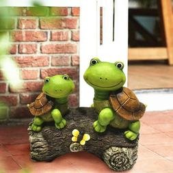 Garden Statue Outdoor Figurines Turtles on Log Patio Lawn Ya