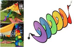 Garden Yard Wind Spinner Hanging Colorful Spiral Spinner Yar