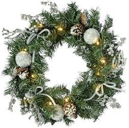 Garland Illuminated Decorated Pre-Lit Wreath Christmas Door