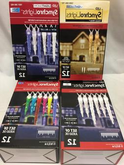 Gemmy SynchoLights Lightshow 12 Icicle Changing Pattern LED