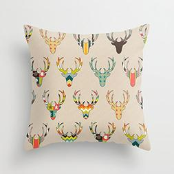 Generic retro deer head on linen Canvas Throw Pillow Case Ch