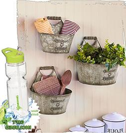 Gift Included- Set of 3 Rustic Country Living Wall Buckets H