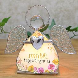 Mom Glass Angel Stained Glass Tealight Candle Holder - Mothe