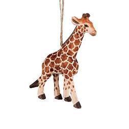 Giraffe Carved Wood Ornament by C&F