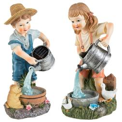 Girl and Boy Solar Light Statues Outdoor Garden Yard Decor w
