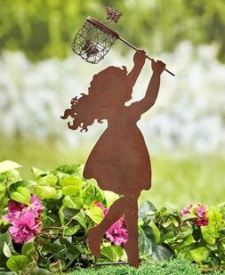 Girl Child Chasing Dragonfly Net Garden Stake Yard Lawn Art
