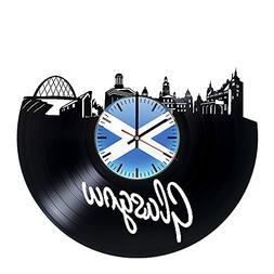 Glasgow Scotland Vinyl Record Wall Clock - Get unique living