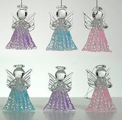 Glass Angel Decorations- Set of 6 Spun Glass Praying Angel D