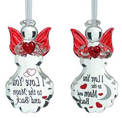 Glass Angel Ornaments - Set of 2 Crystal I Love You to the M