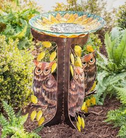 Glass Sunflower Birdbath with Metal Owl Stand Yard Garden Ou