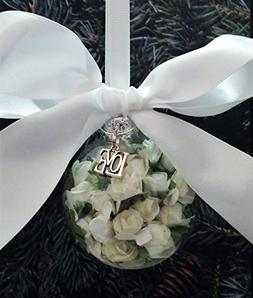 Glass Wedding Favor Rose Filled Christmas Ornament