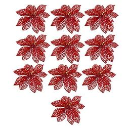 "10Pcs 6"" Glitter Hollow Flowers Xmas Tree Decorations Weddin"