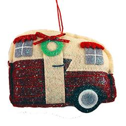 Glittery Fabric Travel Trailer Hanging Christmas Ornament