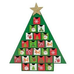 Glitzhome Christmas Wooden Tree Countdown Advent Calendar wi