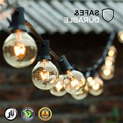 Guddl Globe String Lights with 27 Clear G40 Bulbs, Connectab