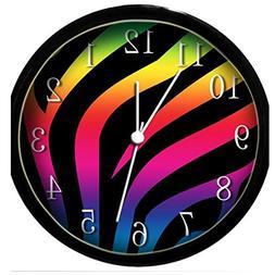 Glow in the Dark Wall Clock - Rainbow Zebra Print