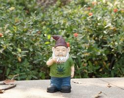 Gnome Smoking Weed Figurine Statue Resin New 9.5 in.Yard Dec