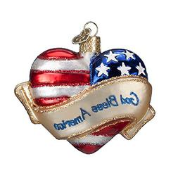 Old World Christmas God Bless America Heart Glass Blown Orna