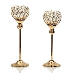 VINCIGANT Gold Crystal Candle Holders Coffee Table Decorativ