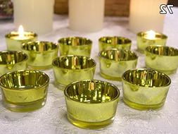 Gold Glass Tea Light Candle Holders - Set of 72 - Gold Candl