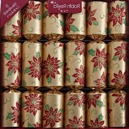 12 x Gold Poinsettia Flower Robin Reed Christmas Crackers