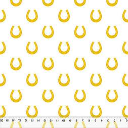 """Golden Horseshoes - Home Decor Fabric Polyester 62"""" W Sold b"""