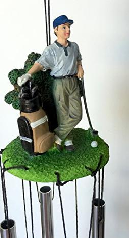 Golfer Golf Statue Wind Chime 24 Inches Long