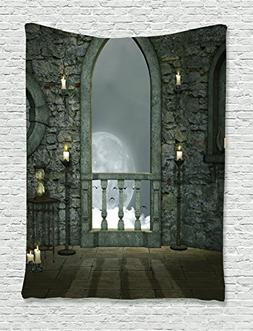 Ambesonne Gothic Decor Collection, Full Moon Birds Fairytale