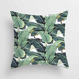 DECORLUTION Green Banana Tree Pattern 18x18 Inch Cotton Line