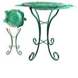 "Comfy Hour 22"" Green Metal Art Turtle Top Birdbath Garden De"