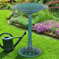 Green Pedestal Bird Bath Feeder Freestanding Outdoor Garden