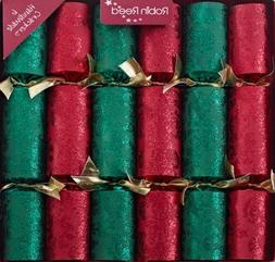 6 x Green and Red Palias Design Robin Reed Christmas Cracker