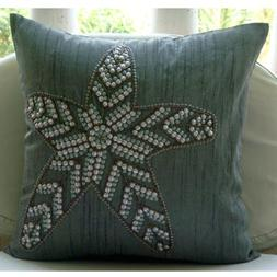 Grey Decorative Pillow Cover, Sequins Starfish Beach & Ocean