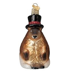 Old World Christmas Groundhog with Hat Glass Ornament 12412