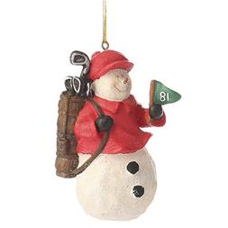 Group of 6 Painted Resin Golf Club Toting Snowman Caddy Orna