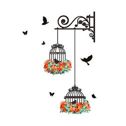 GUAngqi Birdcage Vine Flower Wall Decal Stickers Home Decor