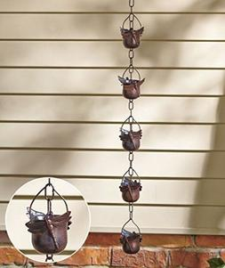 Gutter Iron Dragonfly Rain Chain for Outdoor Yard & Garden D