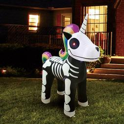 Joiedomi Halloween 5 FT Inflatable Skeleton Unicorn with Bui