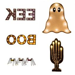 Glitzhome Halloween Marquee LED Ghost Boo Candle Sign Wall D