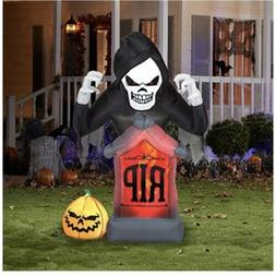 Gemmy Halloween RIP Grim Reaper Airblown Inflatable 6 Ft Yar