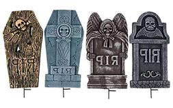 Halloween Tombstones - 4-Set Fake Cemetery Yard Decoration,