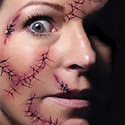 TONGQING Halloween Waterproof Scratch & Stitched Wound Zombi